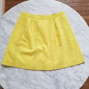 J. Crew Yellow Lace Detail A-Line Skirt